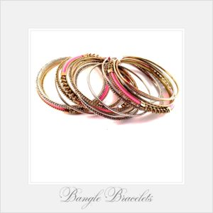 Pink and Gold Bangle Bracelets