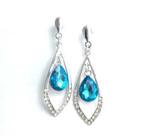 Uptown Earrings - Teal Dangle Earrings
