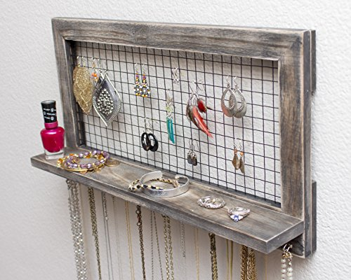Rustic Wooden Wall Mount Jewelry Organizer for Earrings Necklaces